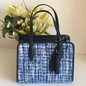 Kate Spade Rowe Tweed Top Zip Satchel blue small